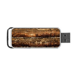 DARK STAINED WOOD WALL Portable USB Flash (One Side)