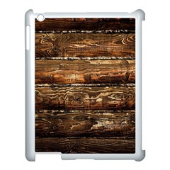 DARK STAINED WOOD WALL Apple iPad 3/4 Case (White)