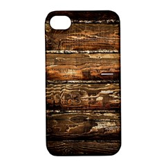 DARK STAINED WOOD WALL Apple iPhone 4/4S Hardshell Case with Stand