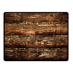Dark Stained Wood Wall Double Sided Fleece Blanket (small)