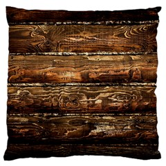 Dark Stained Wood Wall Large Flano Cushion Cases (two Sides)