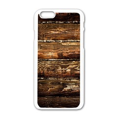 DARK STAINED WOOD WALL Apple iPhone 6/6S White Enamel Case