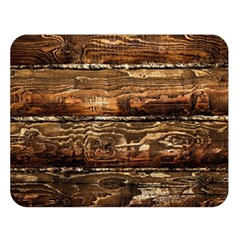 Dark Stained Wood Wall Double Sided Flano Blanket (large)