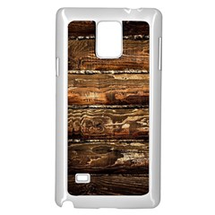 DARK STAINED WOOD WALL Samsung Galaxy Note 4 Case (White)