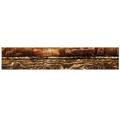 DARK STAINED WOOD WALL Flano Scarf (Large)
