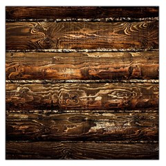 Dark Stained Wood Wall Large Satin Scarf (square)