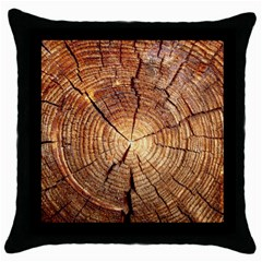CROSS SECTION OF AN OLD TREE Throw Pillow Cases (Black)