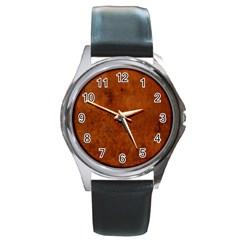 BURL OAK Round Metal Watches