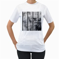 BLACK AND WHITE FENCE Women s T-Shirt (White) (Two Sided)