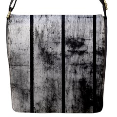 BLACK AND WHITE FENCE Flap Messenger Bag (S)