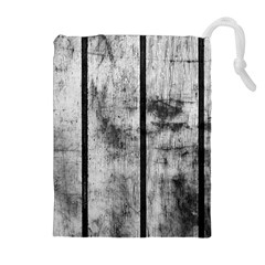 BLACK AND WHITE FENCE Drawstring Pouches (Extra Large)