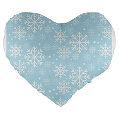 Frosty Large 19  Premium Flano Heart Shape Cushions