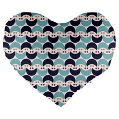 Moon Pattern Large 19  Premium Heart Shape Cushions