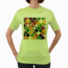 Dots and Squares Women s Green T-Shirt