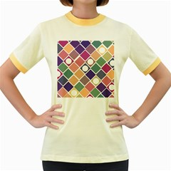 Dots And Squares Women s Fitted Ringer T Shirts