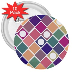 Dots and Squares 3  Buttons (10 pack)