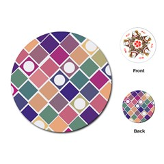 Dots And Squares Playing Cards (round)