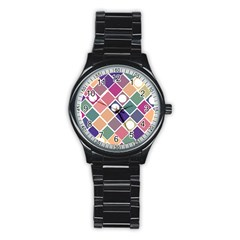 Dots and Squares Stainless Steel Round Watches