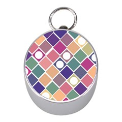 Dots And Squares Mini Silver Compasses