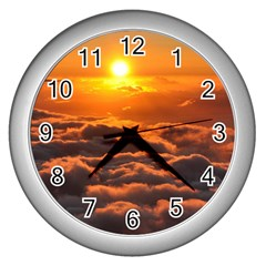 SUNSET OVER CLOUDS Wall Clocks (Silver)