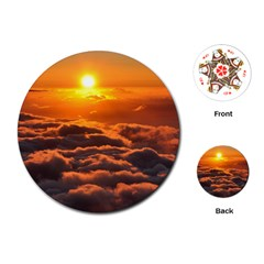 Sunset Over Clouds Playing Cards (round)