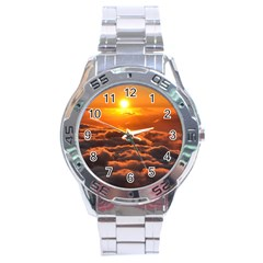 SUNSET OVER CLOUDS Stainless Steel Men s Watch