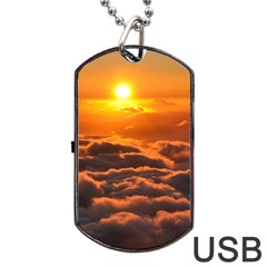 Sunset Over Clouds Dog Tag Usb Flash (one Side)