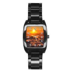 SUNSET OVER CLOUDS Stainless Steel Barrel Watch