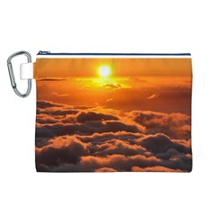 SUNSET OVER CLOUDS Canvas Cosmetic Bag (L)