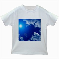 SUN SKY AND CLOUDS Kids White T-Shirts