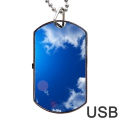 Sun Sky And Clouds Dog Tag Usb Flash (two Sides)