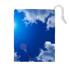 Sun Sky And Clouds Drawstring Pouches (extra Large)