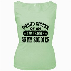 Proud Army Soldier Sister Women s Green Tank Tops