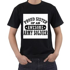 Proud Army Soldier Sister Men s T-Shirt (Black) (Two Sided)