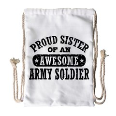 Proud Army Soldier Sister Drawstring Bag (large)