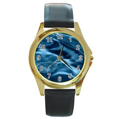 Water Ripples 1 Round Gold Metal Watches