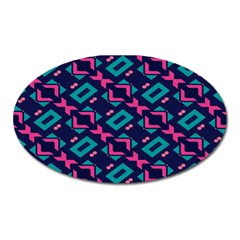 Pink and blue shapes pattern Magnet (Oval)