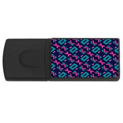 Pink and blue shapes pattern USB Flash Drive Rectangular (2 GB)