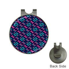Pink and blue shapes pattern Golf Ball Marker Hat Clip