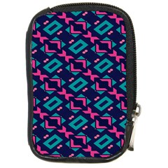 Pink and blue shapes pattern Compact Camera Leather Case