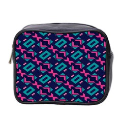 Pink and blue shapes pattern Mini Toiletries Bag (Two Sides)