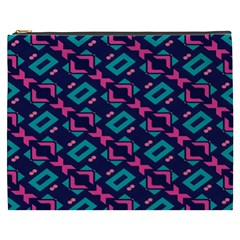 Pink and blue shapes pattern Cosmetic Bag (XXXL)