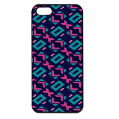 Pink and blue shapes pattern Apple iPhone 5 Seamless Case (Black)