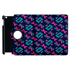 Pink and blue shapes pattern Apple iPad 3/4 Flip 360 Case