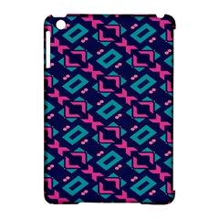 Pink and blue shapes pattern Apple iPad Mini Hardshell Case (Compatible with Smart Cover)