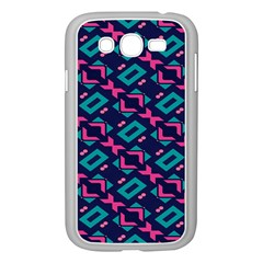 Pink and blue shapes pattern Samsung Galaxy Grand DUOS I9082 Case (White)