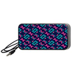 Pink and blue shapes pattern Portable Speaker