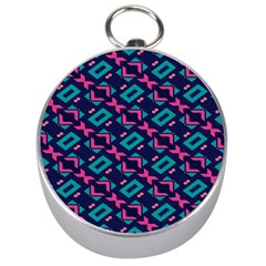 Pink and blue shapes pattern Silver Compass