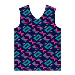 Pink and blue shapes pattern Men s Basketball Tank Top