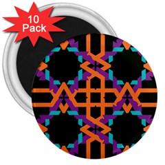 Juxtaposed Shapes 3  Magnet (10 Pack)